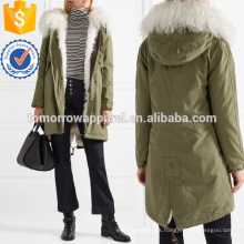 Shearling-lined Cotton-canvas Parka Manufacture Wholesale Fashion Women Apparel (TA3023C)