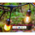 Винтажный 48-м Открытый коммерческий светодиодные гирлянды с 15 приостановлено розеток и 15 ясно С14 лампы, Датчик 14