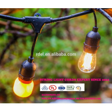 Vintage 48-Ft Outdoor Commercial LED String Lights with 15 Suspended Sockets and 15 Clear S14 Bulbs, 14 Gauge