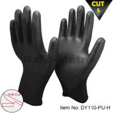 NMSAFETY 13 gauge schwarz pu arbeiten schneiden handschuhe resistent level 5
