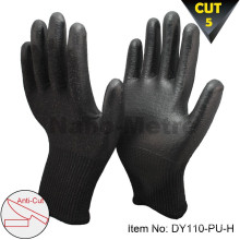 NMSAFETY calibre 13 pu pu guantes de corte resistentes resistente nivel 5