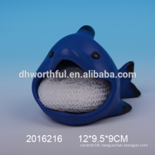 Cute sandfish ceramic sponge holder for kitchen