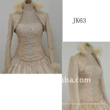 JK63 mujeres Beaded manga larga chaqueta de boda
