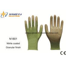 Guantes de trabajo recubiertos de nitrilo con revestimiento de poliéster (N1801-1)