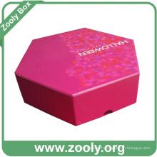 Boîte cadeau en papier en carton rigide hexagonale imprimée (ZG002)