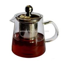 Горячее надувательство Китай Поставщик подарок Промотирования 1000мл ручной работы Боросиликатного стеклянный чайник заварочный с металлическим