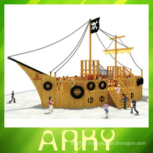 Équipement de terrain de jeux de pirate bateau en bois pour enfants