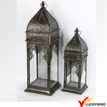 Venta al por mayor S / 2 Vintage Garden Hanging Glass Metal Lantern