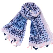Factory supply geometry tassel scarf 2017 ladies new Bohemian voile print head scarf