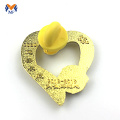 Heart shape gold metal bag badge