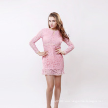 Long Sleeve Lace Dress Elegant Ladies Casual Hollow out Autumn Dress