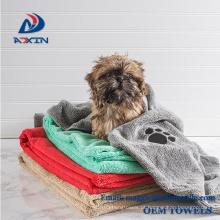 Toalhas de secagem macias do banho de Microfiber de toalha média e grande do animal de estimação para cães / gatos