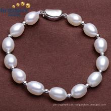 Moda de diseño simple de agua dulce AAA Grado 8-9mm Rice Pearl Bracelet