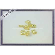 Zircon cubique jaune clair, pierres précieuses coupées par rayonnement