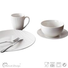 2016 nuevo diseño 16PCS moda grabado en relieve cena de porcelana