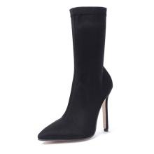 Sexy dress fashion high heel middle calf black stretch boot