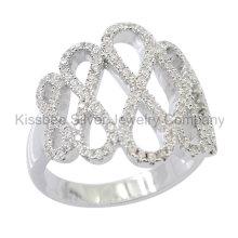 925 prata esterlina jóias Infinity anel CZ (kr3086)