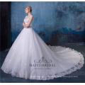 Элегантный вышитые бисером линии свадебные платья с хвостом HA546