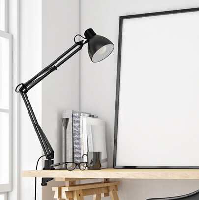 Long Swing Arm Desk Lamp Clamp Metal Architect Adjustable Folding Twin-Arm Clip-on Table Lamp black-5