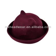 Para mujer de lana de felpa de felpa Cat Bowlers Hat para la venta