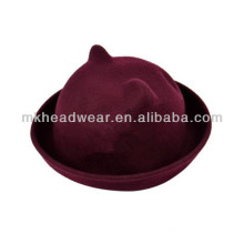 Womens Fashion Wool Felt Cat Ears Bowler Hat for Sale
