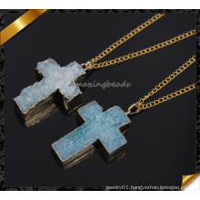 Blue Druzy Cross Pendant Necklace Wholesale Jewelry (CN017)
