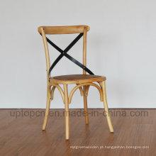 Cadeira de madeira sólida de madeira clássica X Back para restaurante (SP-EC140)