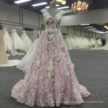 Boho dentelle jusqu'à rose v-cou princesse dos nu femmes robe BB070