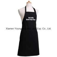 Promotional Custom Printed Black Cotton Canvas Kitchen Apron for Men