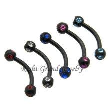 Bijoux piercing de cristal de sourcil anodisé par PVD noir