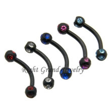 Black PVD Anodized Crystal Eyebrow Piercing Jewelry