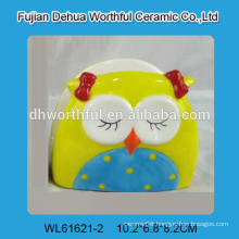 Beautiful owl shaped ceramic napkin holder in bright color