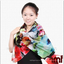 Colourful Fashion Design Printed Cashmere Feel Wool Scarf