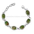 Green Copper Turquoise Gemstone 925 Sterling Silver Bracelet