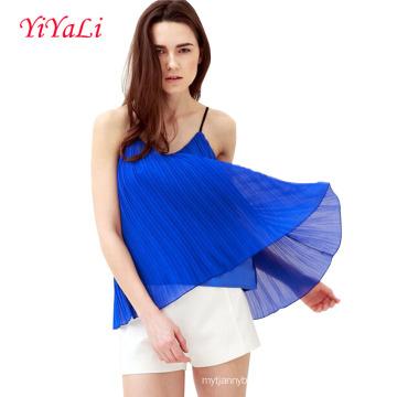 T-shirt da mulher do verão da roupa superior da menina da blusa sem mangas
