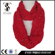 Hot sale solid color knitting winter warm loop scarf beads mix scarf