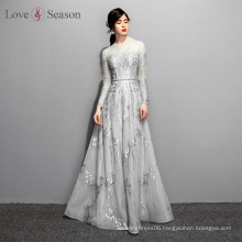 OB96652 evening lace dress natural waist with belt arabic evening dress long sleeve dress 2017