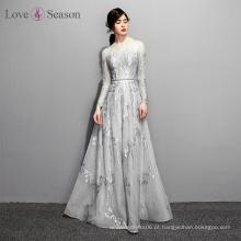 OB96652 vestido de renda noite cintura natural com cinto vestido de noite árabe vestido de manga longa 2017