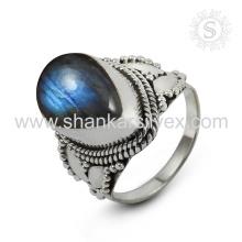Handmade Scenic Labradorite Gemstone Silver Ring atacado 925 Sterling Silver Jewelry Jaipur Online Prata Jóias