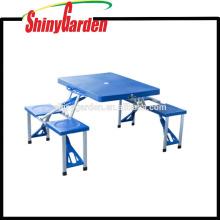 Portable Aluminium Falten Outdoor Height Einstellbare Camping Koffer Picknicktisch w / 4 Sitze