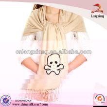 Bufandas de seda del cráneo blanco llano al por mayor elegante de la alta calidad, bufanda de la importación
