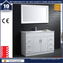 Moderne Bodenmontierte MDF White Badezimmer Vanity für Hotel