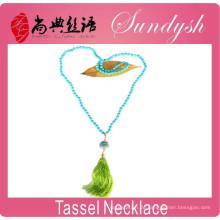 Handgemachte lange Boho Quaste Perlen Türkis Halskette