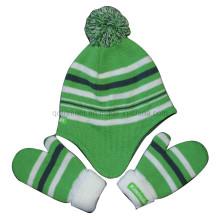 Acrylic POM Polar Fleece Lining Glove Earflap Knited Beanie (TMK8381)