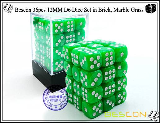 Bescon 36pcs 12MM D6 Dice Set in Brick, Marble Grass-1