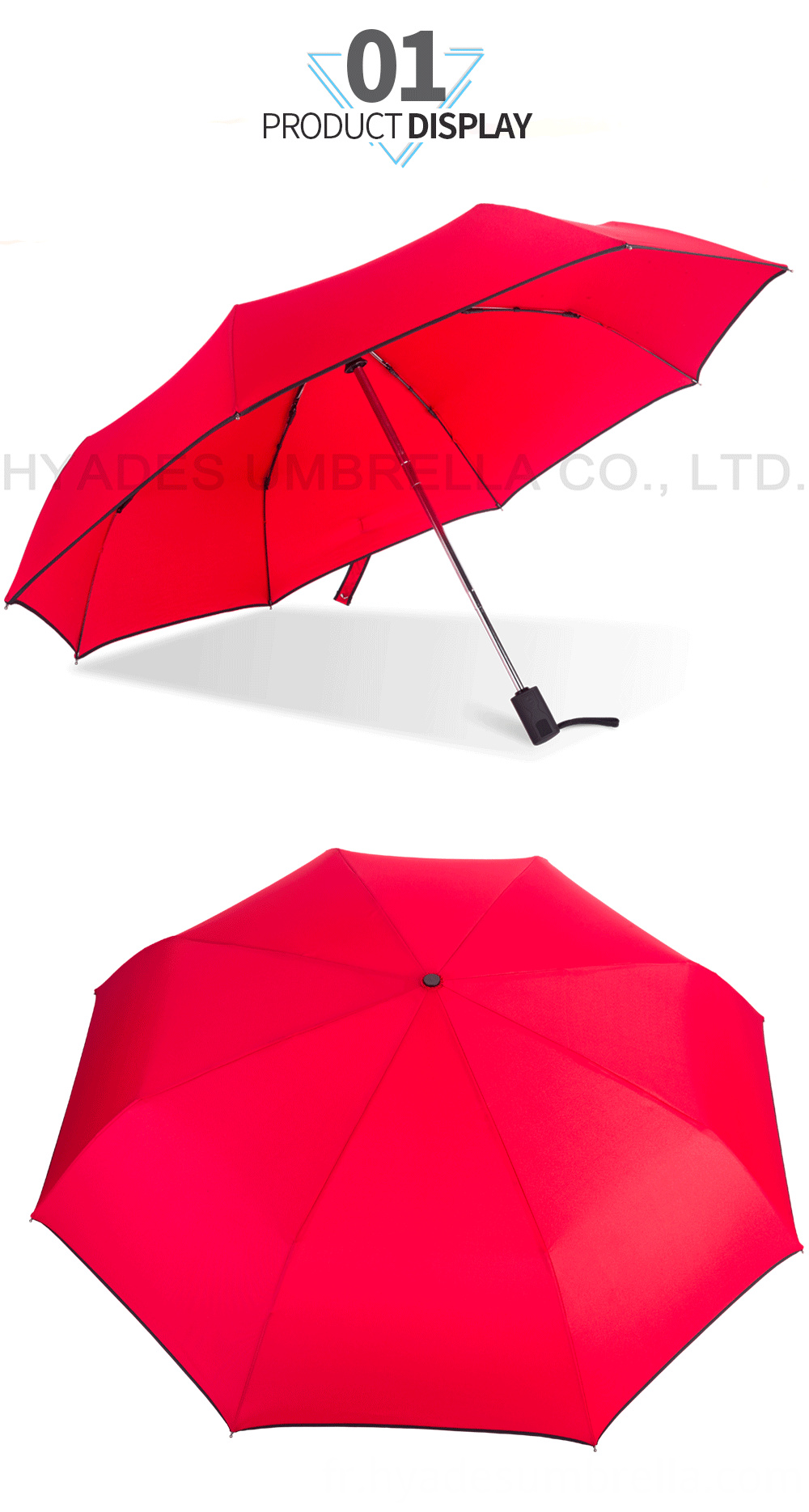 Red 3 Folding Umbrella Auto Open And Close
