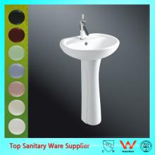 Modern design hotel sink ceramic round pedestal basin