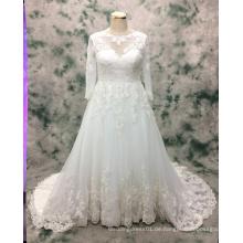 Prinzessin Plus Size Langarm Spitze Brautkleid für die Braut