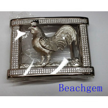 Chinese Zodiac Rooster CZ Sterling Silver Belt Buckle for Man