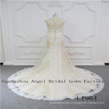 Без рукавов с прекрасной кружева свадебное платье